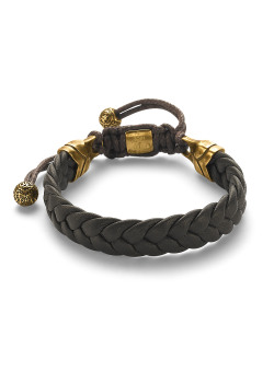 Stainless steel bracelet, brown braided leather