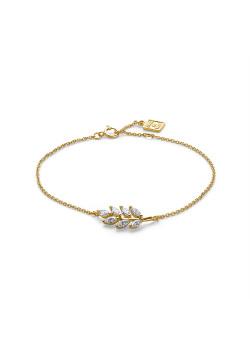 Armband in 18kt plaqué goud, tak in zirkonia