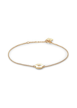 18ct gold plated bracelet, round with small star and zirconia