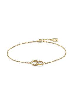Bracelet en plaqué or 18ct, 2 cercles ouverts, zircons