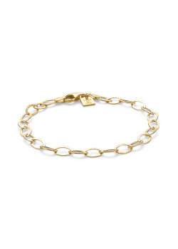 18ct gold plated silver bracelet, hammered link chain