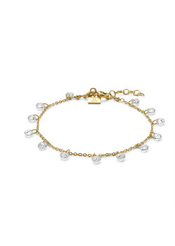 18ct gold plated bracelet, 12 crystals