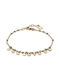 18ct gold plated bracelet, ball chain with rounds