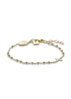 Armband in verguld zilver, ovaal, kruisje op bolletjesketting