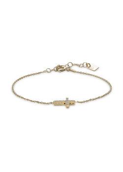 Armband in verguld zilver, kruisje in zirkonia