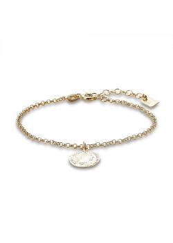 Armband in verguld zilver, hangend muntje