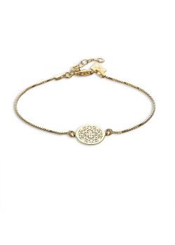 Bracelet en plaqué or 18ct, rond avec motif