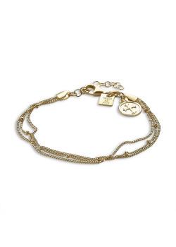 Armband in 18kt plaqué goud, 3 kettingen, ronde met kruis