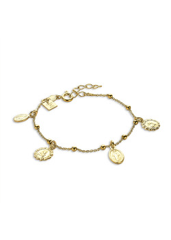 18ct gold plated bracelet, hanging medallions