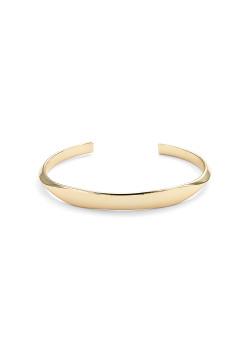 high fashion rigide armband, plat in het midden, goudkleur