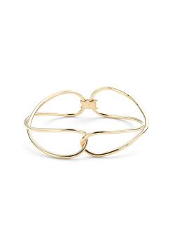 High fashion armband, 2 gekruiste infinities, goudkleur