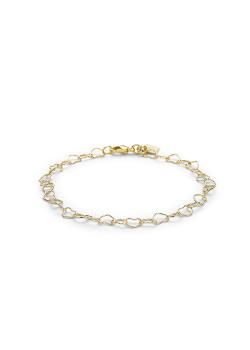 armband in 18kt plaqué goud, hartjes