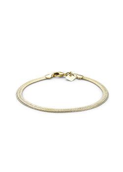 armband in 18kt plaqué goud, platte slangketting