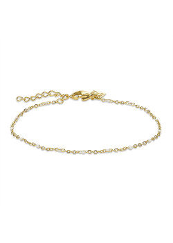 Gold-coloured stainless steel bracelet, small white enamel balls