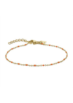 Gold-coloured stainless steel bracelet, small orange enamel balls