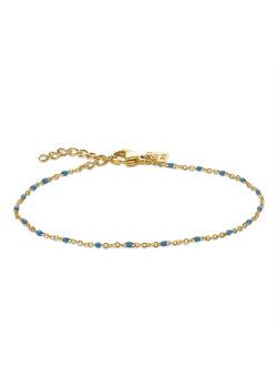 Bracelet en acier poli couleur or, petites boules en émail bleu