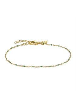 Bracelet en acier poli couleur or, petites boules en émail vert