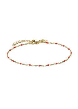 Bracelet en acier poli couleur or, petites boules en émail rouge