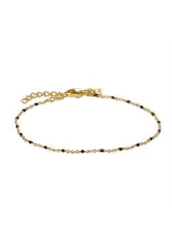 Bracelet en acier poli couleur or, petites boules en émail noir