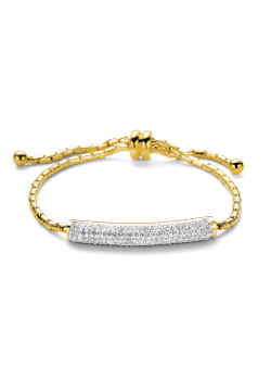 gold-coloured stainless steel bracelet, curved tube, crystals
