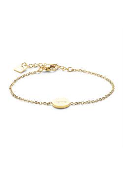 Bracelet en acier poli couleur or, petit rond avec love