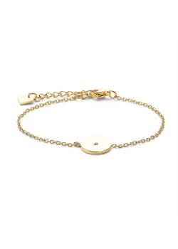 Armband in goudkleurig edelstaal, rondje met kristal