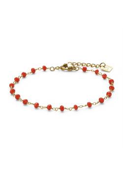 Bracelet en acier poli couleur or, petites pierres rouges