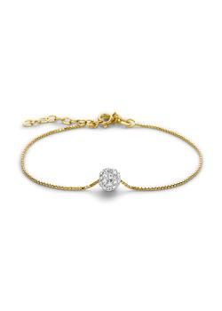 Armband in 18kt verguld zilver, witte kristallen bol van 7 mm