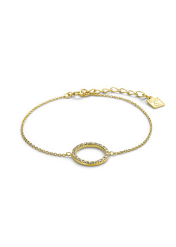 18ct gold plated silver bracelet, 14 mm circle, zirconia
