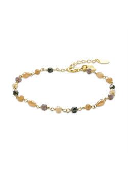 Bracelet en acier poli, pierres roses, noires et blanches