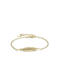 18ct gold plated silver bracelet, 30 mm feather