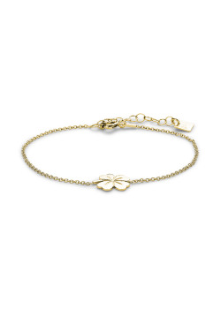 18ct gold plated silver bracelet, lucky clover