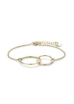 Armband in 18kt verguld zilver, 2 cirkels
