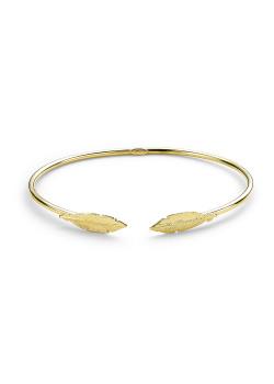 Rigide armband in 18kt verguld zilver, veer motief