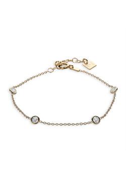Bracelet en plaqué or 18ct, 4 zircons