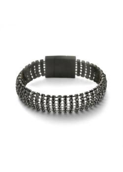High fashion armband, 6 rijen zwarte steentjes