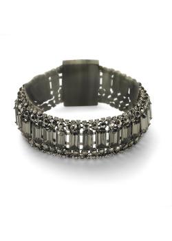 High fashion armband, 6 rijen met steentjes, hematietgrijs, grijs, zwart, wit