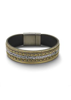High fashion armband, goudkleurig, witte steentjes
