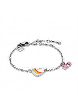 K3 collection, bracelet with heart in rainbow and K3