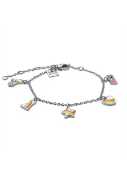 K3 collection, bracelet with roller skates, heart, star and rainbow dress