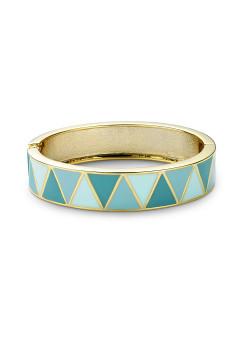 Bracelet clip en émail, turquoise/bleu