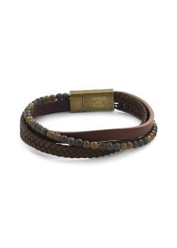 Armband met 4 rijen leder en parels