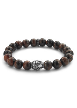 Armband in rode tiger eye natuursteen van 10 mm, boeddha motief