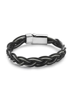 Armband in edelstaal en leder