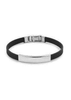 Bracelet en caoutchouc et acier poli