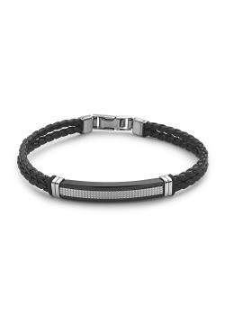 leather bracelet, stainless steel central motif