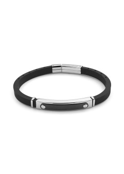Rubber bracelet, black and silver stainless steel central motif