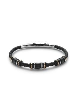 Bracelet en cuir noir, motifs petits anneaux