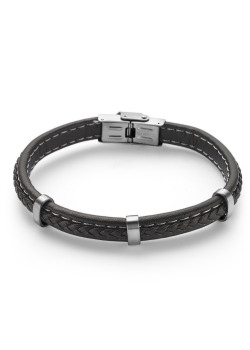 Stainless steel bracelet, brown leather
