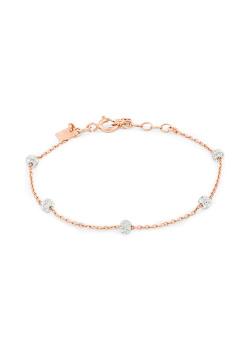 Armband in rosé zilver, 5 bollletjes met kristallen